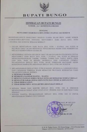 Himbauan Bupati Bungo dalam rangka menyambut hari raya idul fitri 1Syawal 1441/2020m